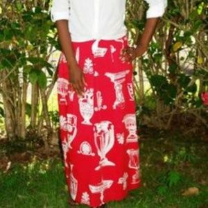 Soft Surroundings Maxi Skirt Red Printed Cotton